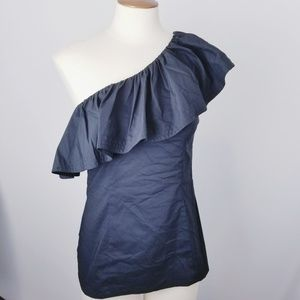 Trina Turk Mayreau one shoulder black ruffle top 4